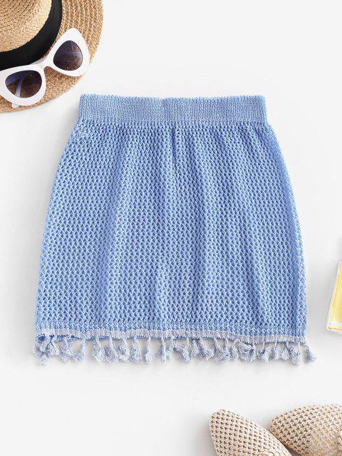 Saia de Praia de Crochê com Borla - Céu Azul Um Tamanho Mobile
