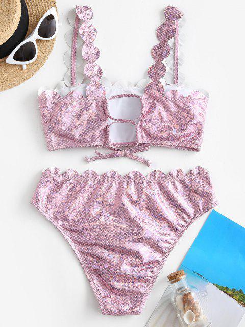 women's ZAFUL Coated Sheeny Disco Scalloped Mermaid Bikini Swimwear - LIGHT PINK L Mobile