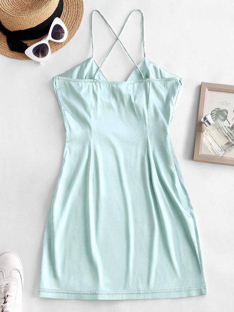 women Criss Cross Ruched Satin Mini Dress - LIGHT GREEN S Mobile