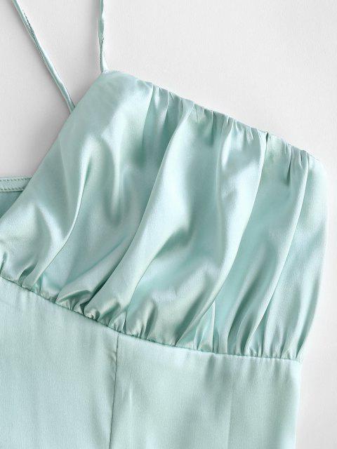 hot Criss Cross Ruched Satin Mini Dress - LIGHT GREEN XL Mobile