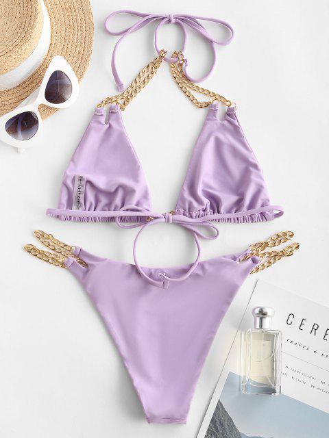 ZAFUL Costume da Bagno Bikini con Bretelle Imbottite Design - viola M Mobile