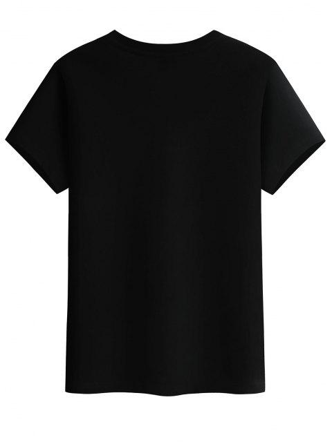fancy Flying Crane Chinese Character Graphic Basic T-shirt - BLACK L Mobile