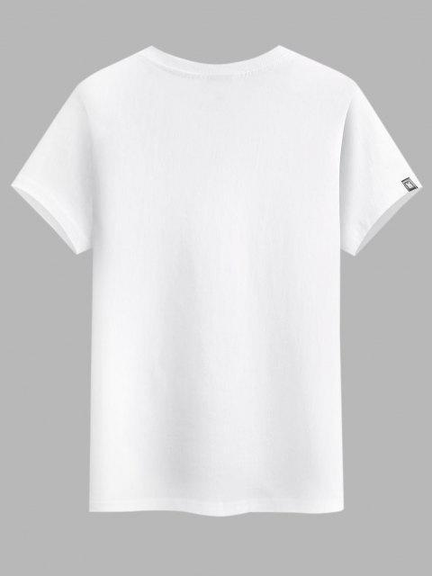 women's Flying Crane Chinese Character Graphic Basic T-shirt - WHITE XS Mobile