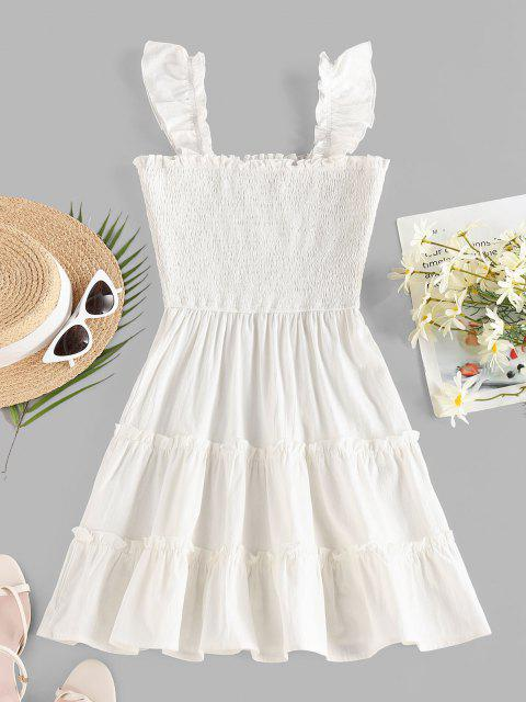 fashion ZAFUL Smocked Ruffle Sleeveless Tiered Dress - WHITE M Mobile