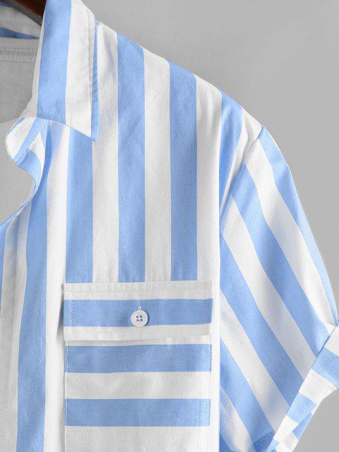 shops ZAFUL Stripe Print Double Pockets Shirt - LIGHT BLUE L Mobile