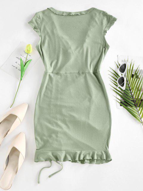 ZAFUL Geripptes Kleid mit Rüschen und Flügelärmeln - Hellgrün S Mobile