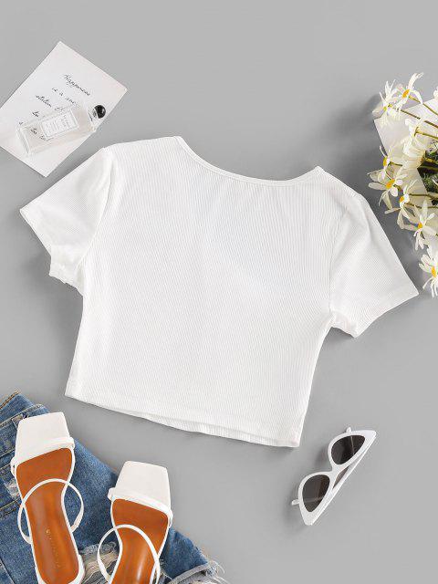 ZAFUL T Shirt com Nervuras Assimétrica de Decote Cortado - Branco S Mobile