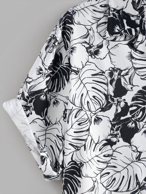 shop ZAFUL Palm Leaves Flower Print Monochrome Pocket Shirt - WHITE M Mobile