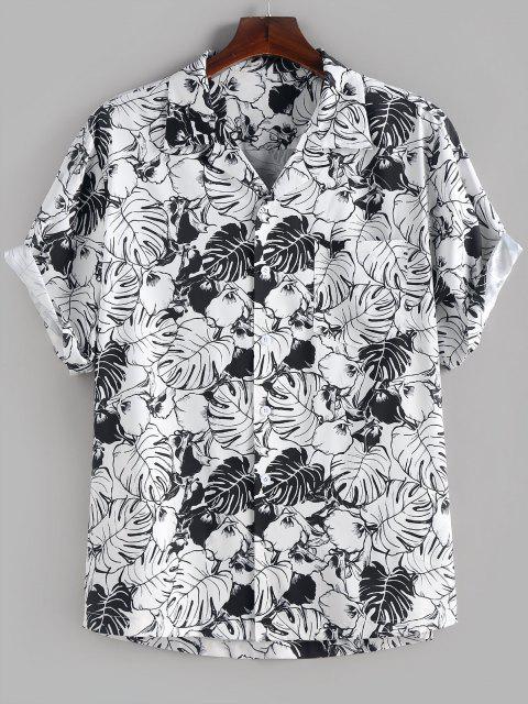 latest ZAFUL Palm Leaves Flower Print Monochrome Pocket Shirt - WHITE S Mobile