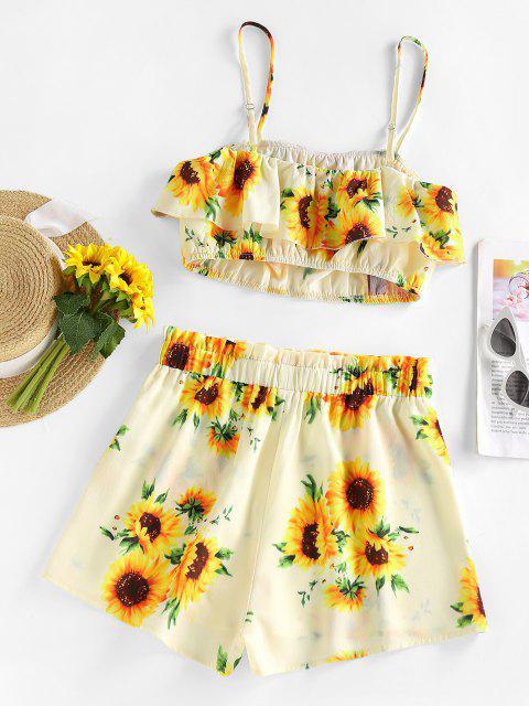 ZAFUL Sonnenblumen Volant Shorts mit Weitem Bein Set - Multi XL Mobile