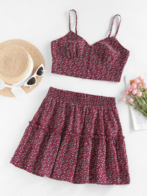 shops ZAFUL Ditsy Print Ruffle Buttoned Tiered Skirt Set - RED S Mobile