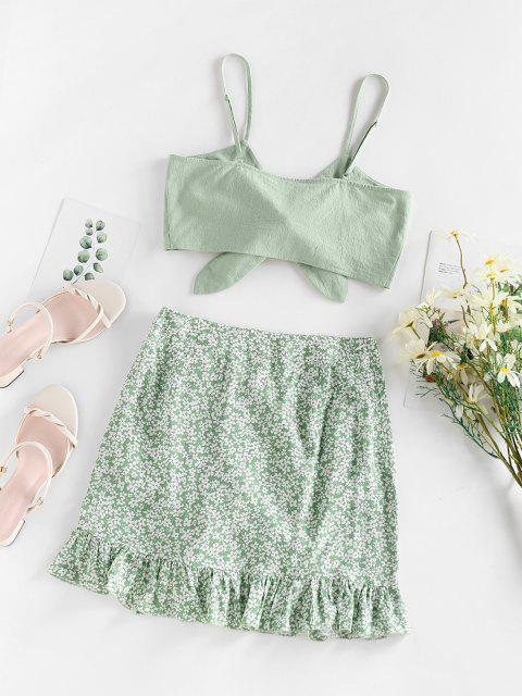 women's ZAFUL Ditsy Floral Cinched Ruffle Knot Two Piece Skirt Set - LIGHT GREEN L Mobile