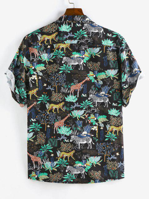sale ZAFUL Animals Flowers Print Lapel Pocket Shirt - BLACK L Mobile