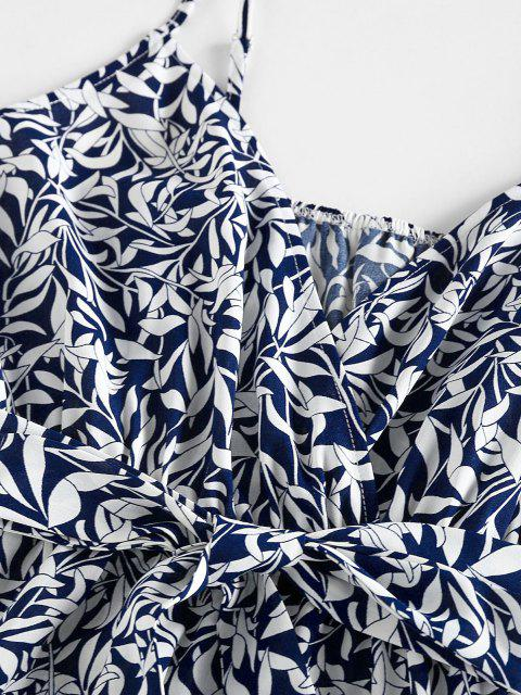 shops ZAFUL Leaf Print Belted Ruffle Cami Romper - DEEP BLUE M Mobile