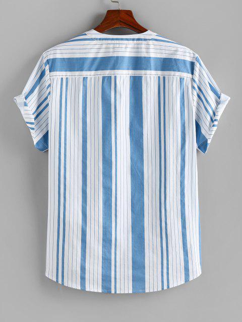 ZAFUL Kurzärmliges Hemd mit Vertikal Gestreiftem Druck - Hellblau M Mobile