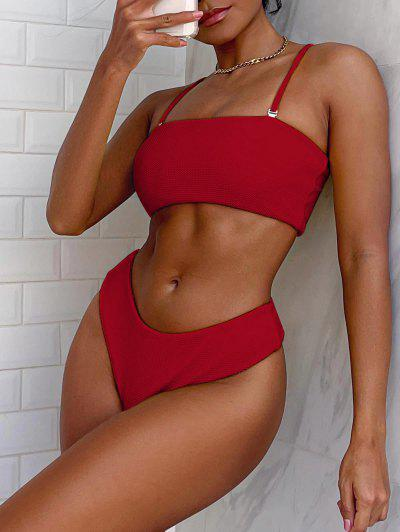 ZAFUL Textured Bandeau Bikini Set - Ruby Red S