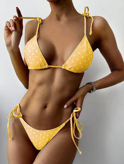 ZAFUL Polka Dot String Bikini Set - Rubber Ducky Yellow M