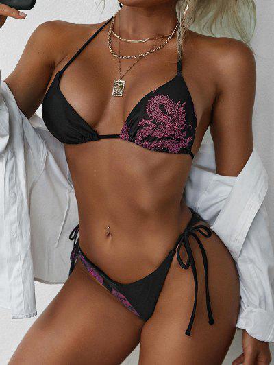 Costume Da Bagno Bikini Con Coulisse E Stampa Drago Di ZAFUL - Rosso S
