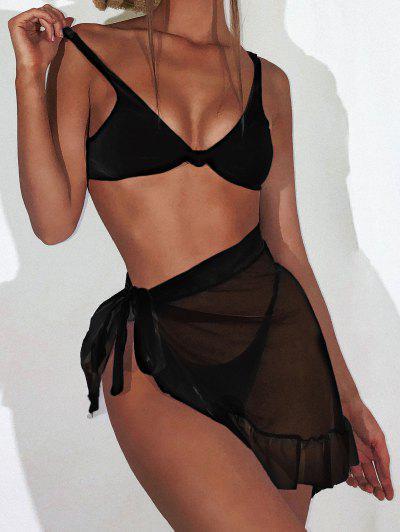 ZAFUL Knot Ribbed Bikini With Ruffle Mesh Sarong - Black L