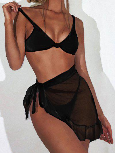 ZAFUL Knot Ribbed Bikini With Ruffle Mesh Sarong - Black S