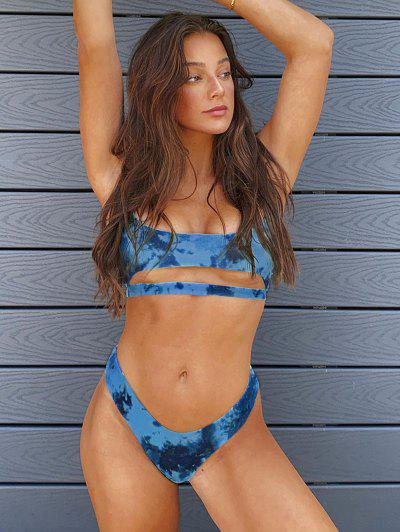 ZAFUL Tie Dye Ribbed Underboob Cheeky Bikini Swimwear - Blue S
