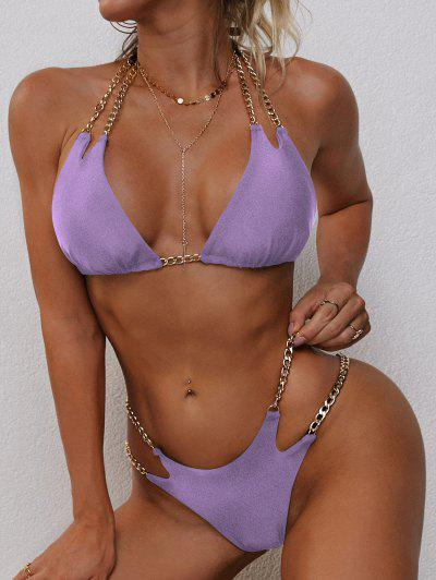 ZAFUL Halter Metallic Chains Tanga Bikini Swimwear - Purple S