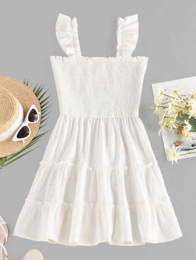 ZAFUL Smocked Ruffle Sleeveless Tiered Dress - White S