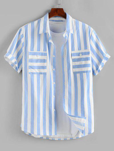 ZAFUL Stripe Print Double Pockets Shirt - Light Blue L