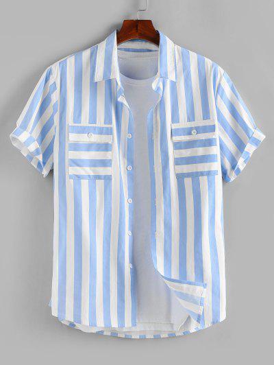 ZAFUL Stripe Print Double Pockets Shirt - Light Blue S