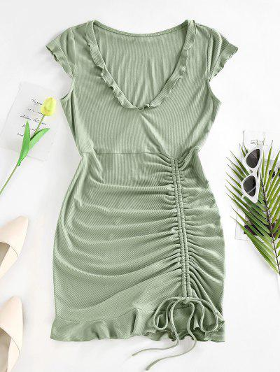 ZAFUL Ribbed Cinched Ruffle Cap Sleeve Dress - Light Green L