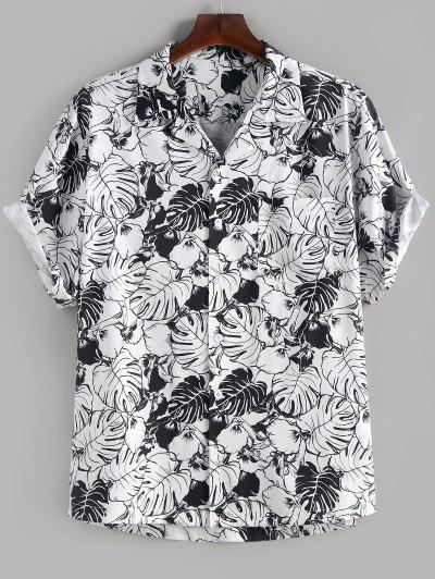 ZAFUL Palm Leaves Flower Print Monochrome Pocket Shirt - White S