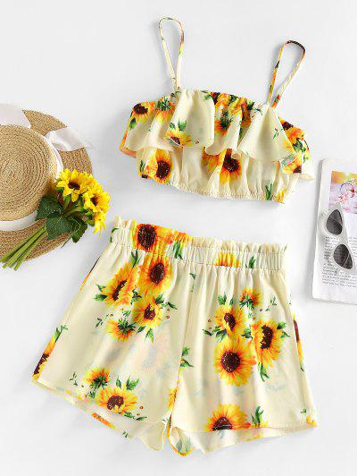 ZAFUL Sunflower Flounce Wide Leg Shorts Set - Multi S