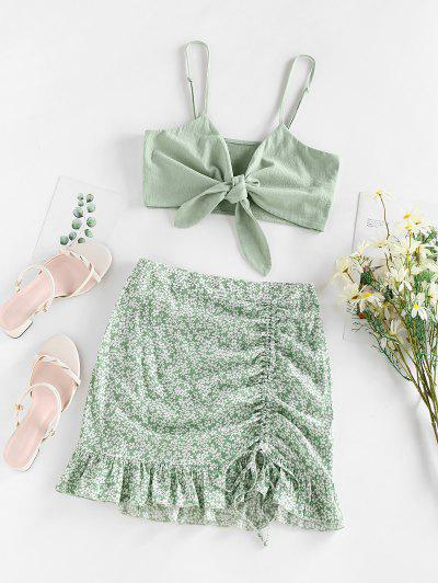 ZAFUL Ditsy Floral Cinched Ruffle Knot Two Piece Skirt Set - Light Green L