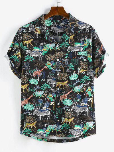 ZAFUL Animals Flowers Print Lapel Pocket Shirt - Black L