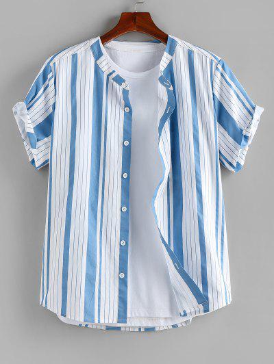 ZAFUL Vertical Striped Print Short Sleeve Shirt - Light Blue M