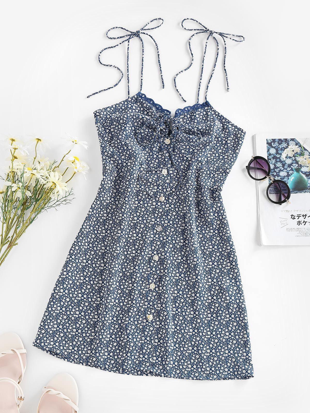 ZAFUL Lace Up Keyhole Floral Mini Dress