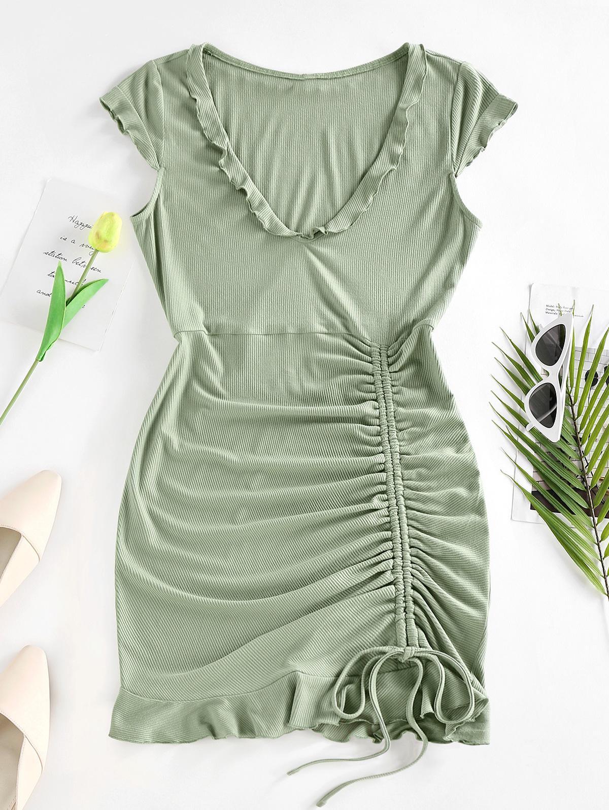 Zaful Ribbed Cinched Ruffle Dress
