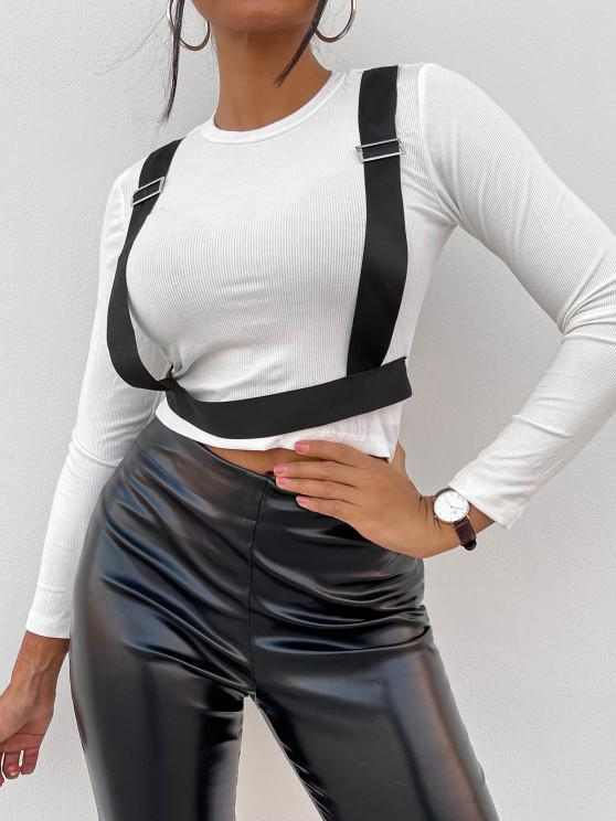 trendy ZAFUL Contrast Panel Buckles Cropped Tee - WHITE L