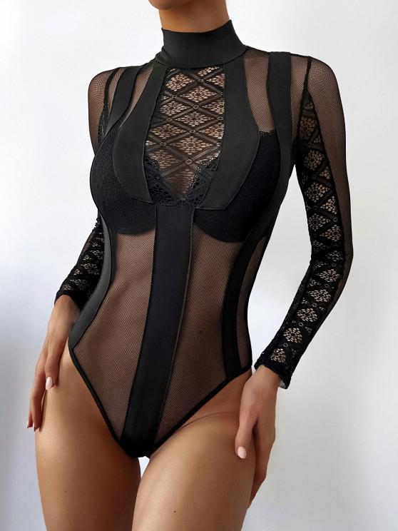 ladies Sheer Mesh Lace Panel Mock Neck Teddy - BLACK L