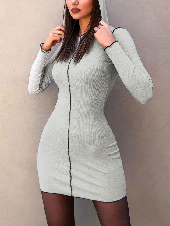 Hooded Rib-knit Slinky Topstitching Bodycon Dress - اللون الرمادي M