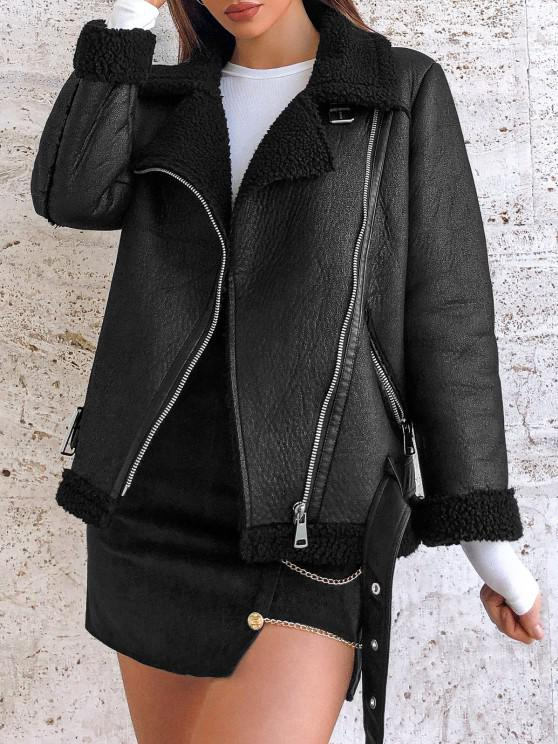 chic Faux Leather Zippered Pockets Faux Shearling Coat - BLACK XS