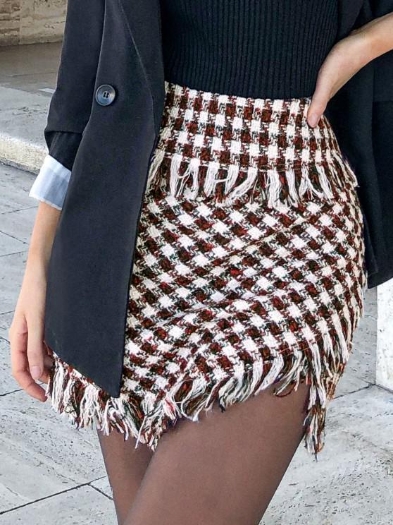 womens ZAFUL Frayed Plaid Tweed Mini Skirt - DEEP RED L