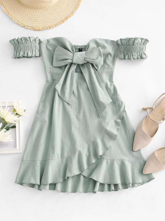buy Off Shoulder Ruffle Smocked Tie Front Dress - LIGHT GREEN S