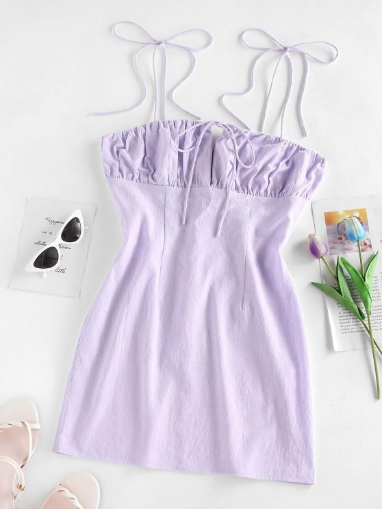 ladies ZAFUL Tie Shoulder Ruched Bust Bodycon Dress - LIGHT PURPLE S