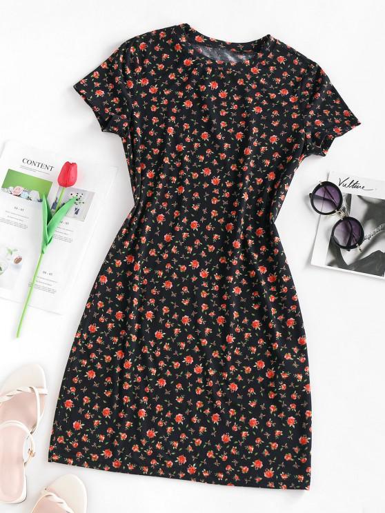 women ZAFUL Flower Print Mini Bodycon Dress - BLACK L