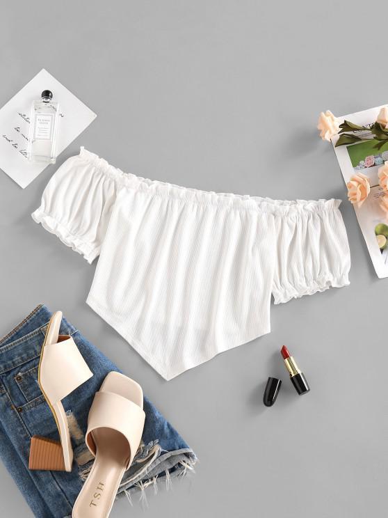 shop ZAFUL Ribbed Off Shoulder Frilled Ruched Top - WHITE S