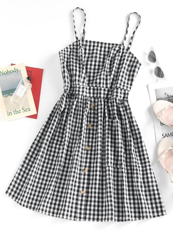 online ZAFUL Plaid Patch Pocket A Line Cami Dress - BLACK S
