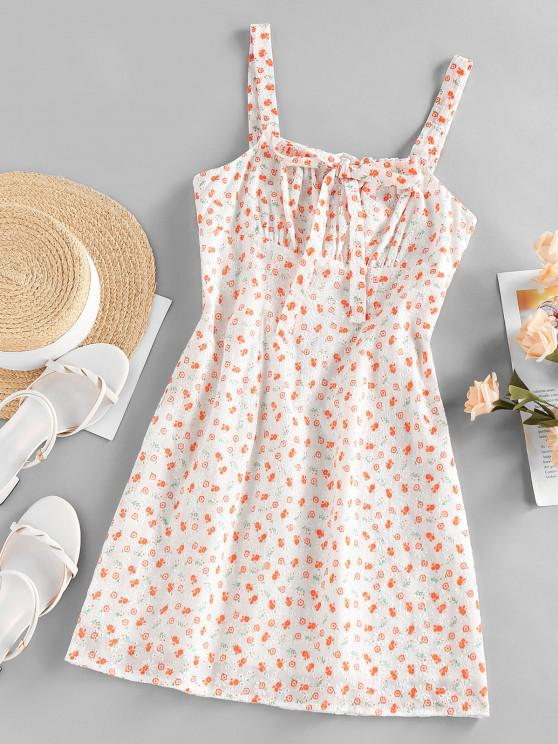 ZAFUL Broderie Anglaise Flower Print Bowknot Dress - البرتقالي S