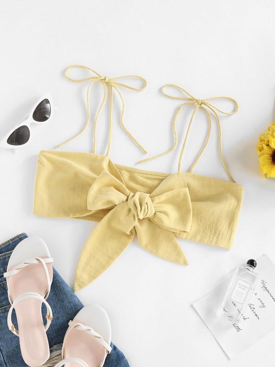 women ZAFUL Bowknot Tie Shoulder Crop Cami Top - YELLOW S