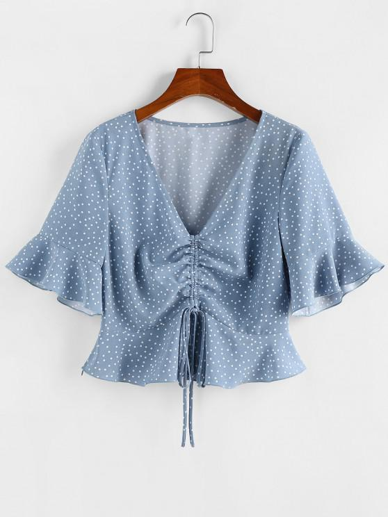 women's ZAFUL Polka Dot Cinched Flare Sleeve Peplum Blouse - BLUE S